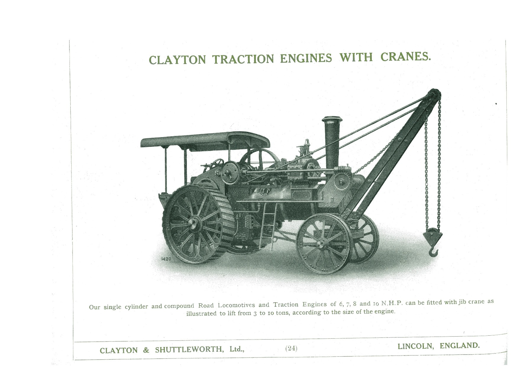 From Old Clayton Catalogue showing similar Engine